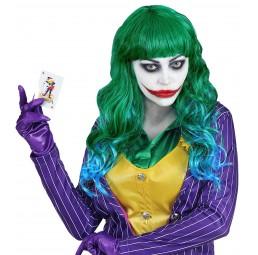 Grüne Evil Joker Damen Perücke