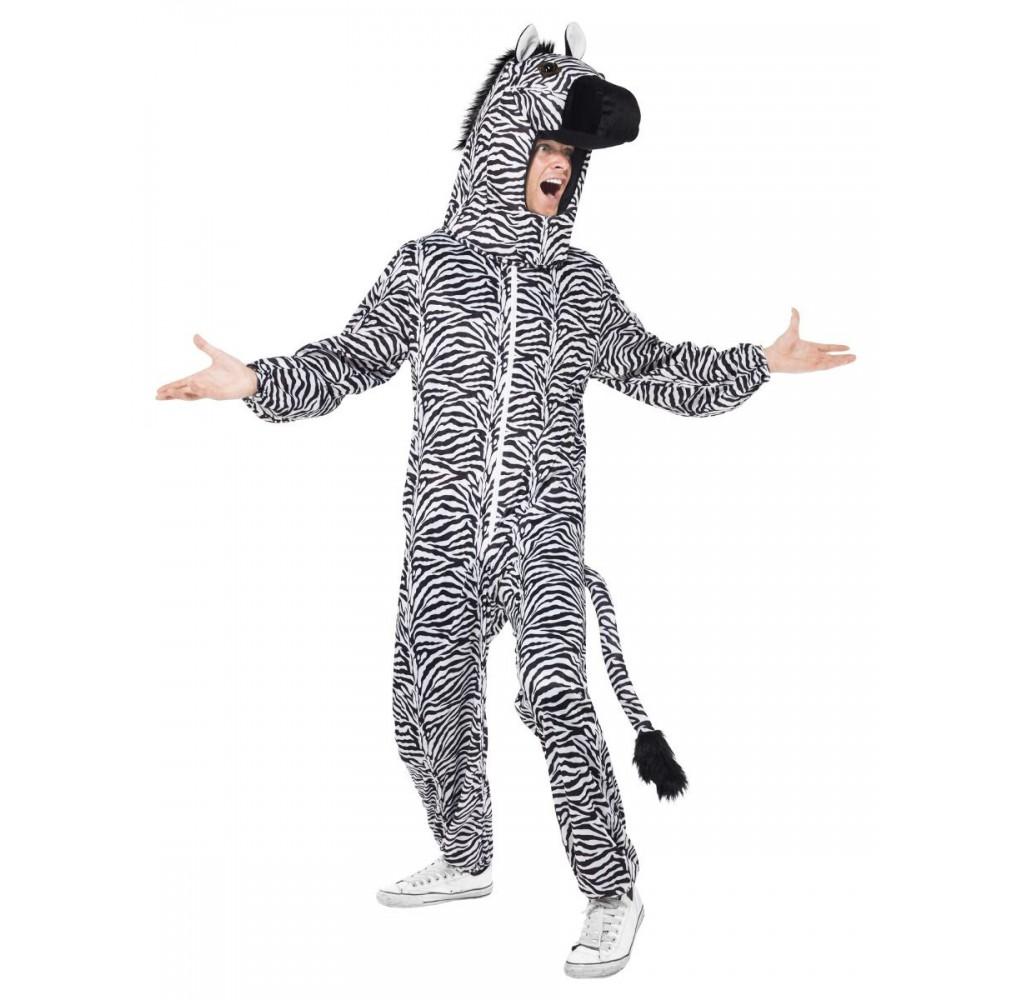Zebra Kostüm (Overall mit Kapuze)