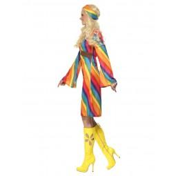 Regenbogen-Hippie Damenkostüm