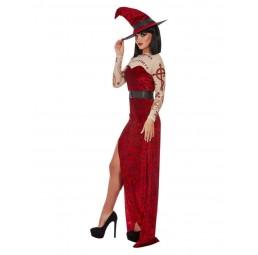 Satanisches Hexen Kostüm (Rot)