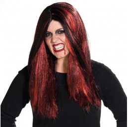 Schwarz-Rote Gothic Perücke
